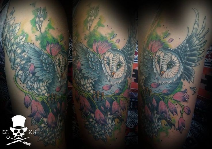 Owl Tattoo: Big color piece we did not too long ago. Quite a fun tattoo. Artist:Ruan