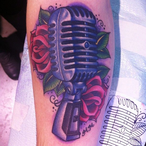 Old school microphone tattoo I did at the Philadelphia Tattoo Convention yesterday! Sorry for the crap photo, the lighting isnt great at the convention. Thank you @mmusicc23123 for being a super awesome client!  - @megan_massacre- #webstagram