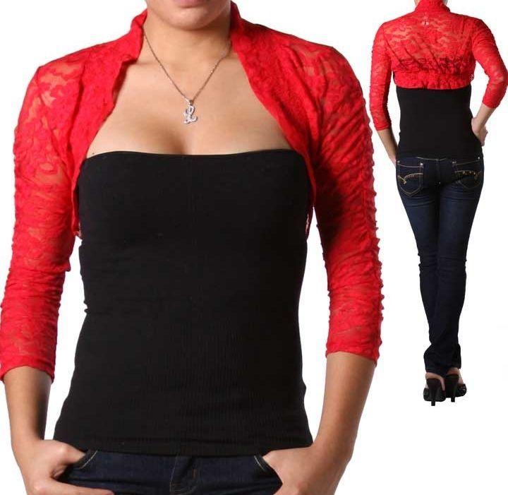 Red 3/4 Sleeve Stretch Lace Smocked Bolero/Shrug/Cardigan S ...