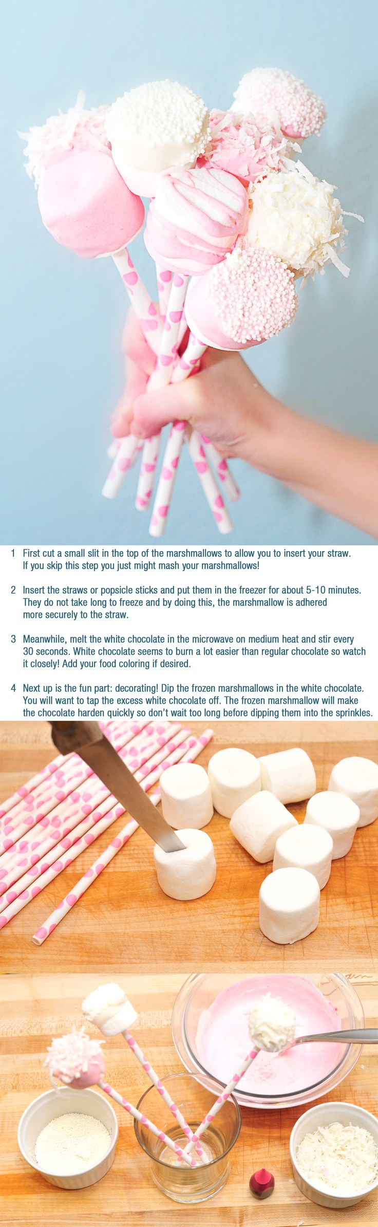 Marshmallow Pops. Much easier than cake pops! Can be done for any occasion just by changing the colors (great for baby showers)!