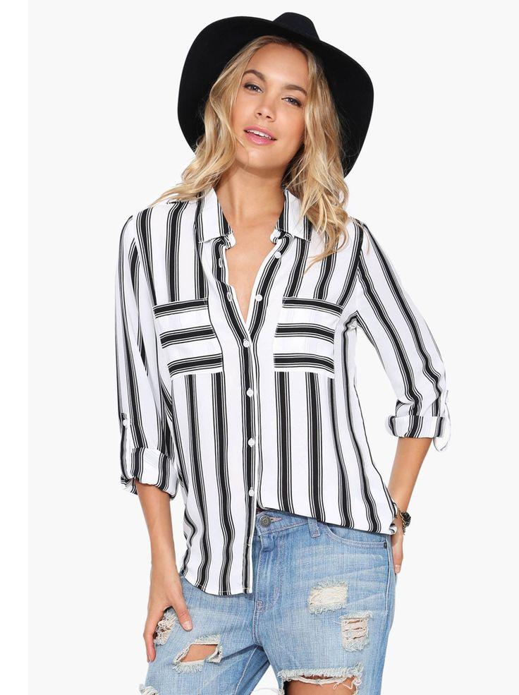 Blusa rayas verticales manga larga-blanco y negro 14.58