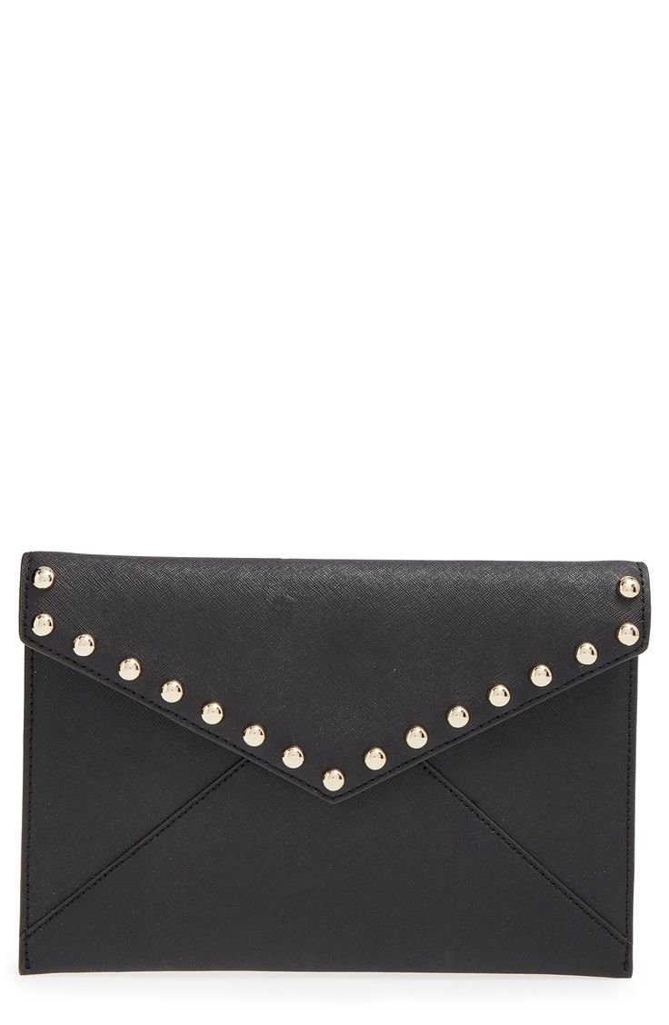 Gleaming gold studs dot the Saffiano leather flap of this trim envelope clutch cast in a minimalist silhouette. This would look chic when dressed up and out on the town with the girls.
