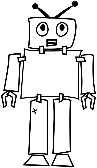 image for robot outline clip art