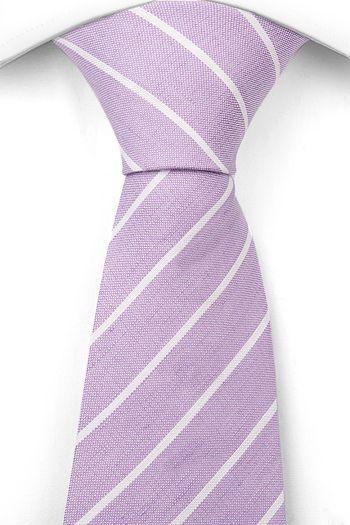 Linen Necktie - Light purple base with white stripes - Notch PIERCE