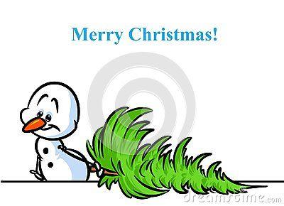 Christmas tree snowman character cartoon illustration isolated image