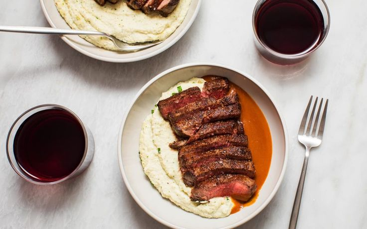 Filet Mignon with Ricotta Cheese Mashed Cauliflower and Espagnole Sauce