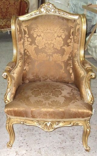 French Louis XV Style Gilded Salon Arm Chair / Egypt Living Room Chairs For  Sale From Azhary Antique Furniture Reproductions