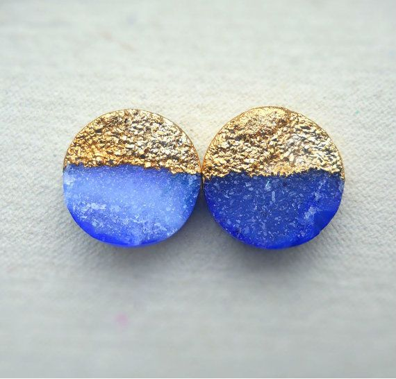 Blue druzy stud earrings - Gold-dipped - drusy agate - XL