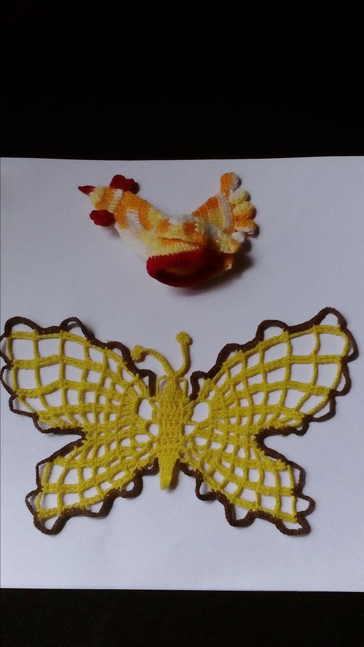 szydełkowy motyl i kurczak