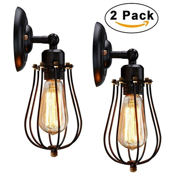 Wire Cage Wall Sconce Kingso 2 Pack Dimmable Metal Industrial