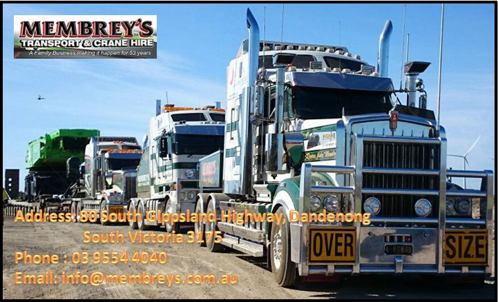 For all your interstate machinery transport needs in and around Melbourne, Membrey's Transport and Crane Hire provides sure-shot solutions. Membrey's are specialists in heavy haulage transport, crane truck and franna crane hire in Melbourne.