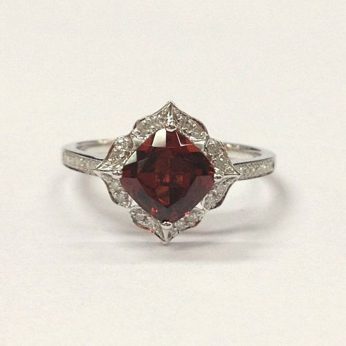 $359 Cushion Red Garnet Engagement Ring Pave Diamond Wedding 14K White Gold  7mm Art Deco