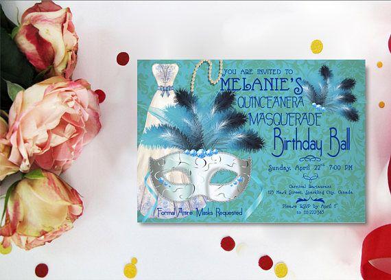 Quinceanera Masquerade Invitation Sweet 15 Invitations Sweet