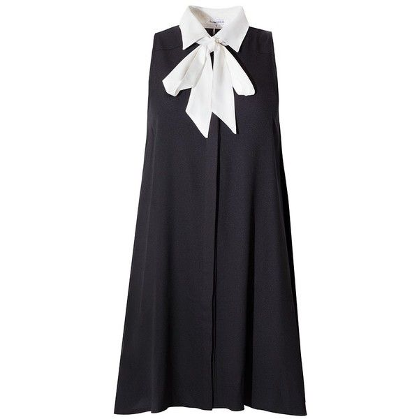 Bow Tie Dress - Black and White A Line Dress - (940 MXN) ❤ liked on Polyvore featuring dresses, short dress, pixiemarket, long shirt dress, shirt dress, short dresses, trapeze dress and shirt-dress