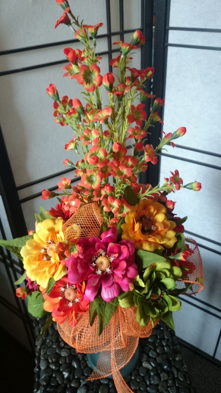 Custom Made Cemetery Vases Made With Your Choice Of Artificial Flowers To Withstand The Elements