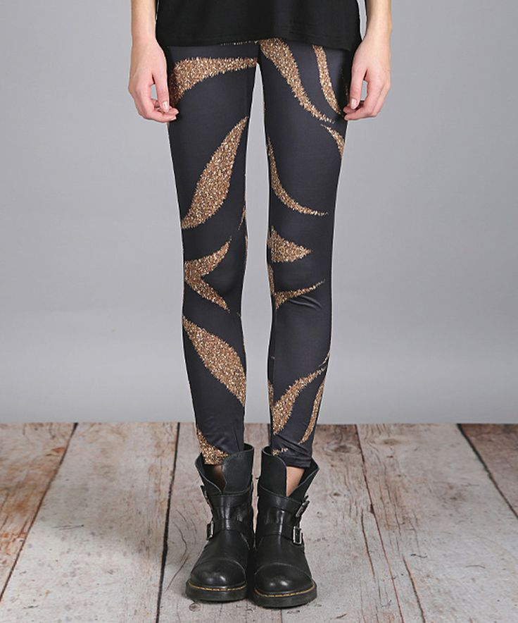 Take a look at this Black & Gold Swirl Slim Fit Pants - Plus Too today!