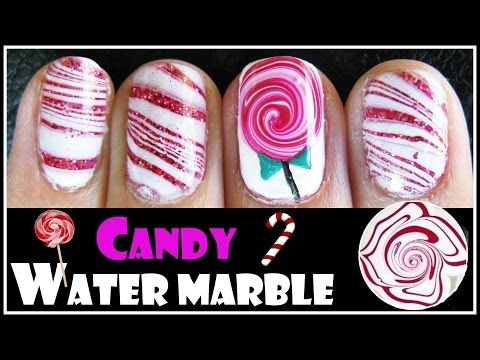 ▶ WATER MARBLE TUTORIAL CHRISTMAS CANDY CANE LOLLIPOP NAIL ART DESIGN FOR SHORT NAILS HOW TO VIDEO - YouTube