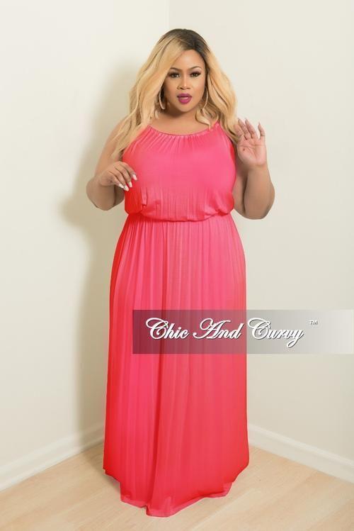 Final Sale Plus Size Floor Length Halter Maxi Dress in Hot Pink ...
