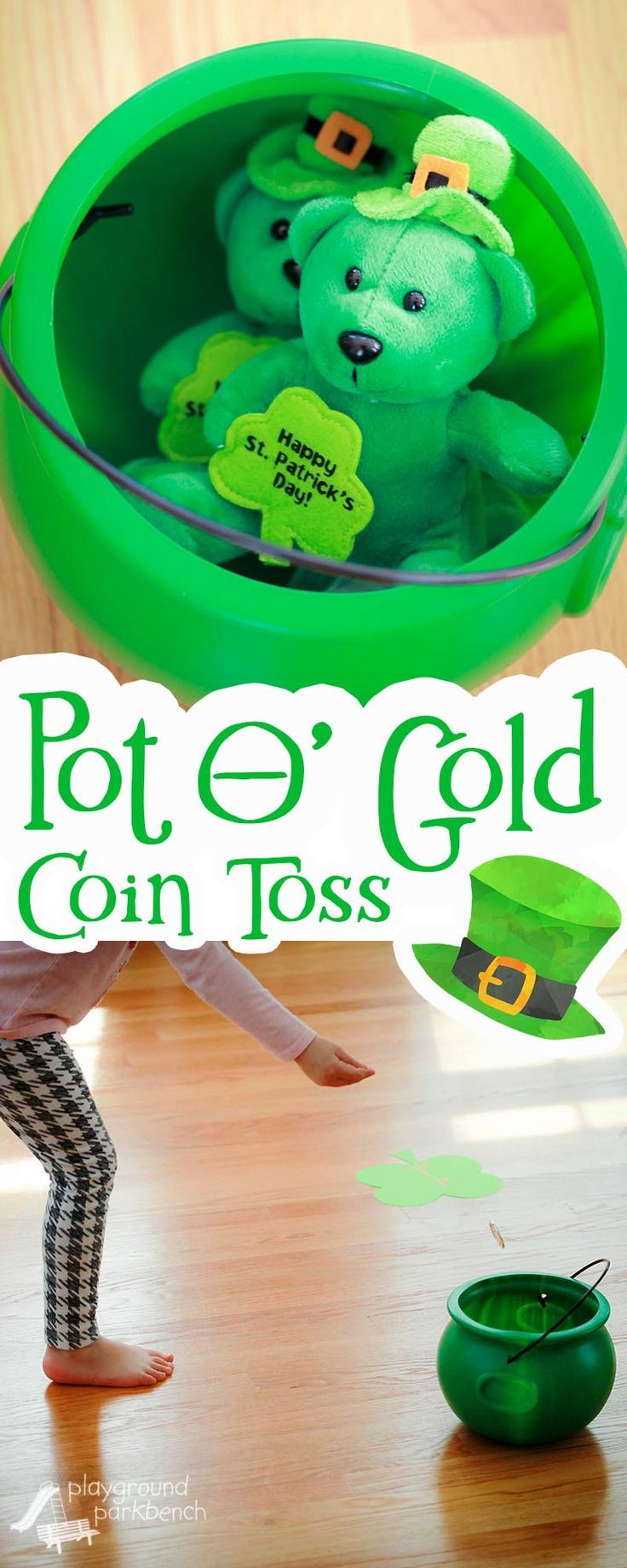 Need a quick and easy St. Patrick's Day game sure to please kids and grown ups too? This Pot O' Gold Coin toss is a crowd pleaser with enough challenge for adult party-goers, while also engaging gross motor skills for kids! | Party Games | Games for Kids | St. Paddy's Day | Kids Activities | Preschool |