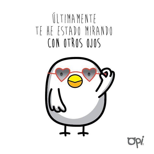 Últimamente te he estado mirando con otros ojos www.society6.com/oscarospina #Opi #cute #kawaii #ilustración #illustration #draw #dibujo #amor
