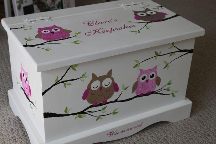 Pink Owls baby keepsake chest / box.