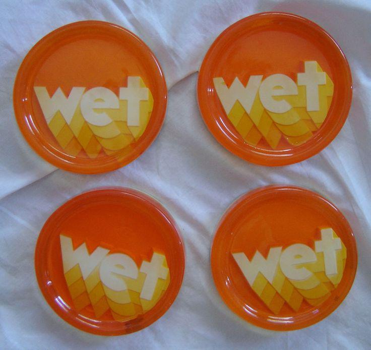 Vintage 70's Clear Lucite Plaster Orange Retro Wet Drink Coasters Funky 4pc Lot