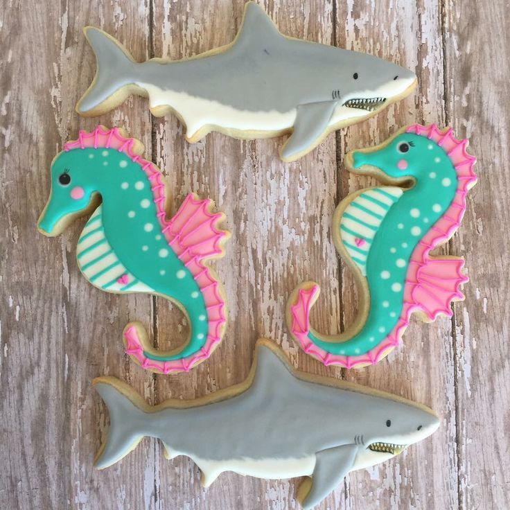 Seahorse and shark sugar cookies