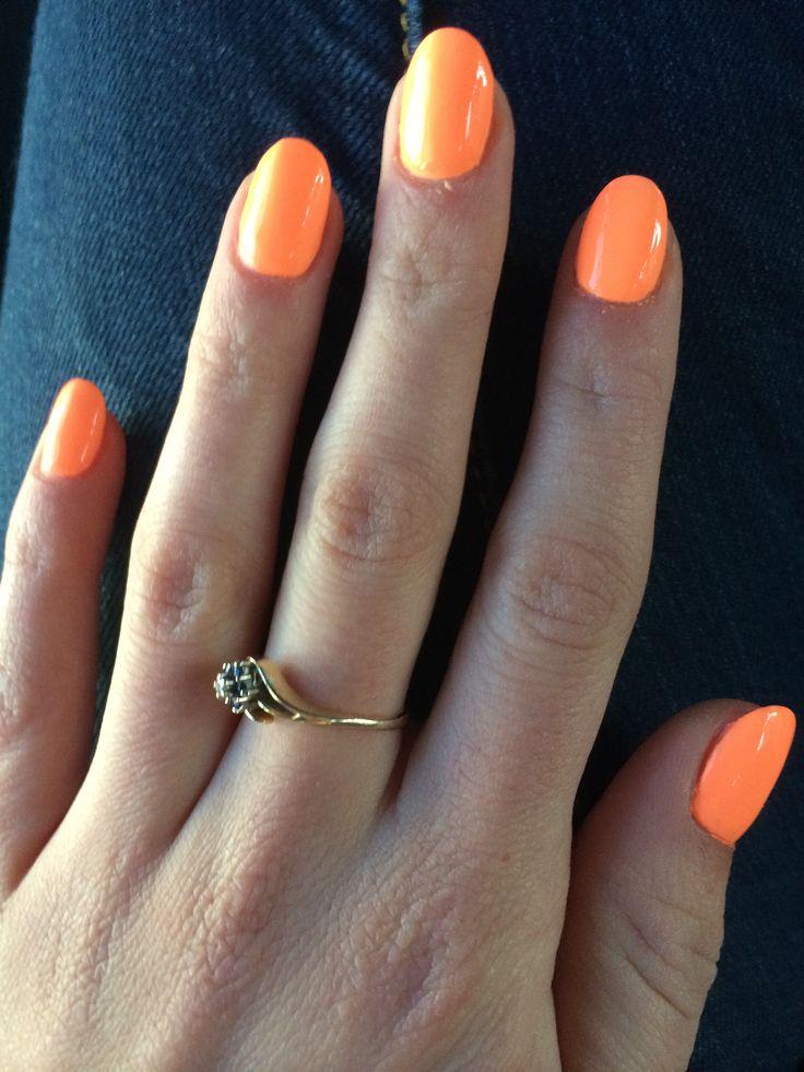 Bright orange round acrylic nails | beauty | Pinterest