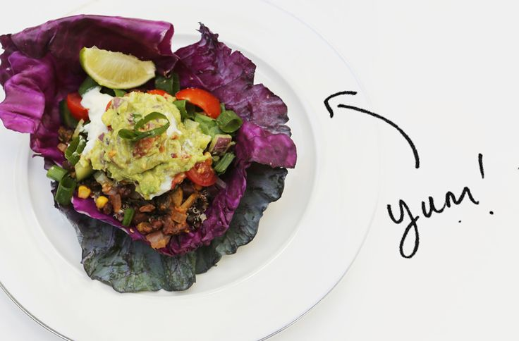 I took it in my stride to create a whole notha' level of Mexi goodness. This being, a Black Bean Burrito bowl wrapped in a crunchy purple cabbage leaf.