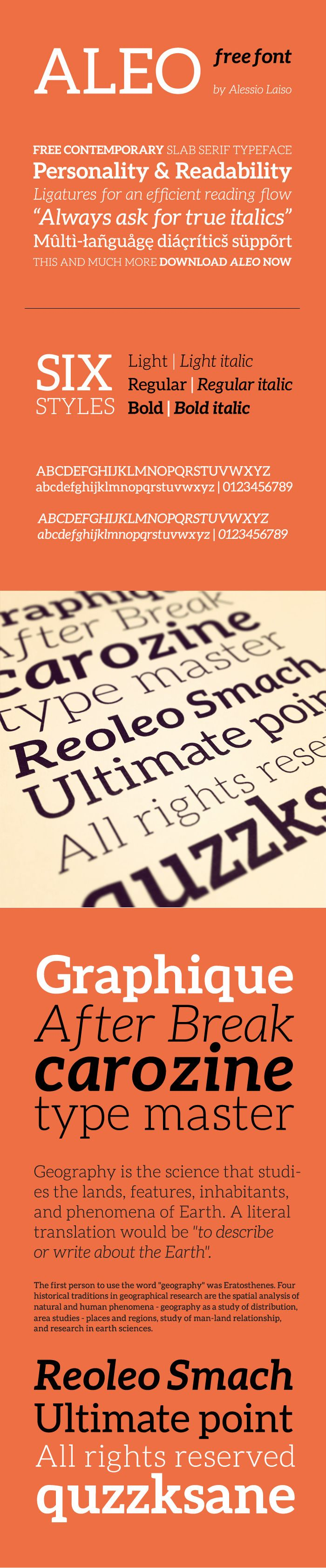 Aleo Free Font The Aleo font family is released under the SIL Open Font License, so it is free for both personal and commercial use.