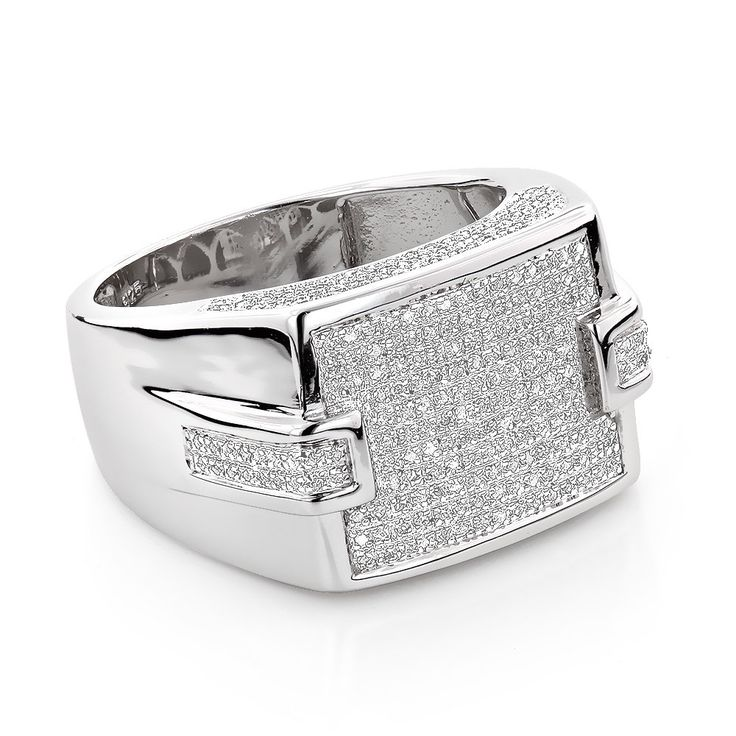 Luxurman Sterling Silver 3/4ct Men's Pave Diamond Ring (H-I, SI3) (Size 11.5), White