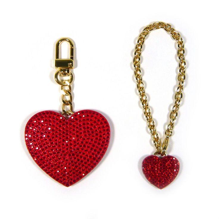 Red Crystal Rhinestone Heart Gold Key Chain Holder Purse Bag Charm Accessory New #Jacc