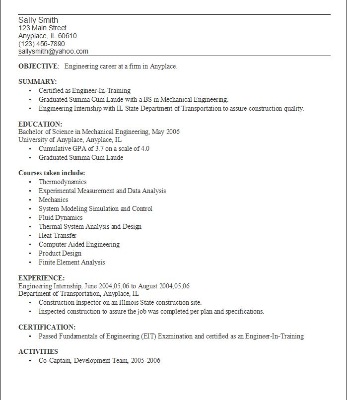 Resume Objective Example For College Students Resume Templates