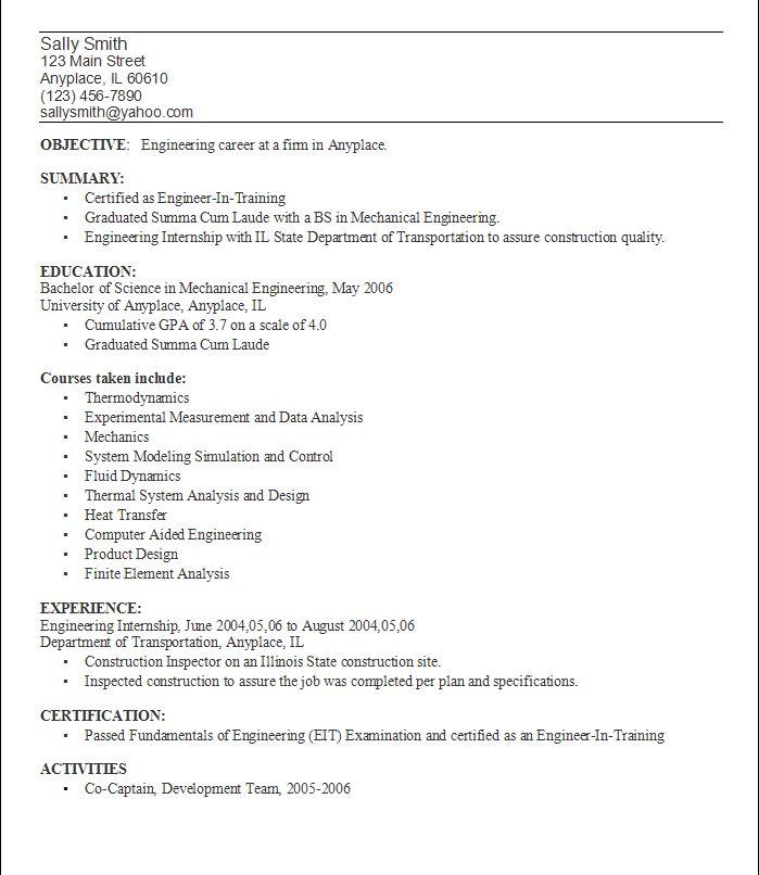 resume objective engineer