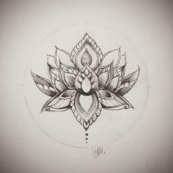 tatouage mandala lotus…