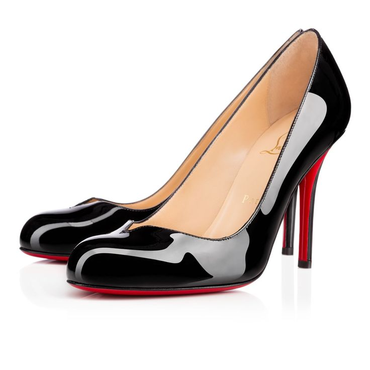 """Make a new statement this season in """"Sophiaregina."""" Featuring an apostrophe heel and subtle v-slit vamp, this 100 round toe style in black patent leather brings an updated look to the classic pump."""