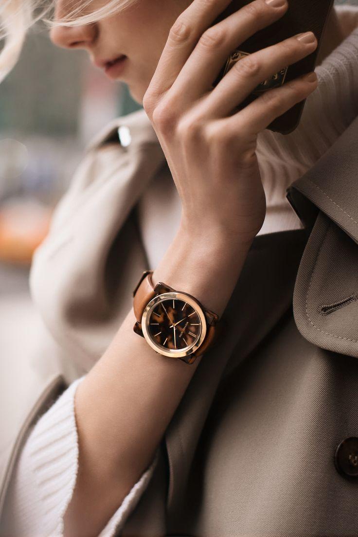 Michael Kors | Kempton tortoise-acetate leather-band watch