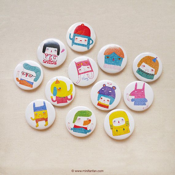"""Set of 12 - A Series of My Characters 1.75"""" (44mm) Button Badge - Encouragement Love Birthday Friendship Pin Bdage - Happy Pinning on Etsy, $18.00"""
