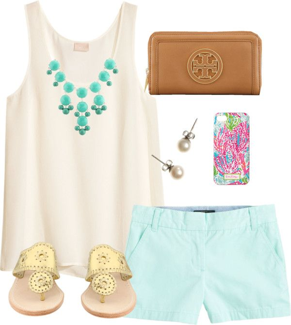 blue shorts, pink shortsleeve, turqouise jewelry {spring or summer}