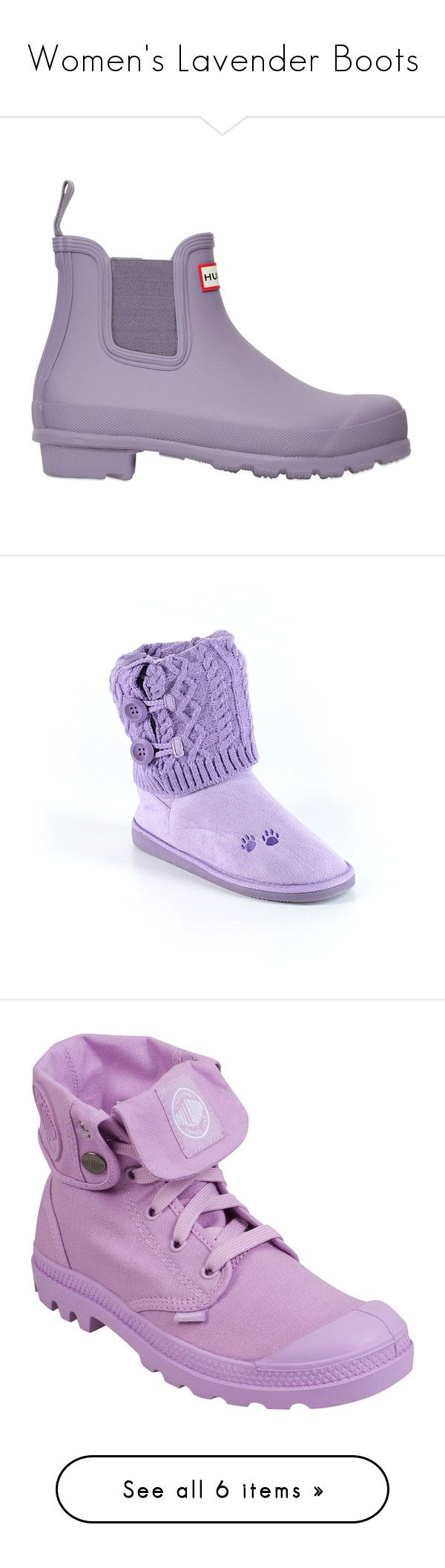 """Women's Lavender Boots"" by eternalfeatherfilm on Polyvore featuring shoes, boots, lilla, hunter shoes, elastic shoes, rubber boots, hunter footwear, wellington boots, purple and animal boots"