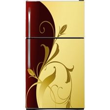 Burgundy Gold Refrigerator Covers, Skins & Panels | Customer Fridge Covers | Top Freezer Refrigerator Cover on SALE NOW!