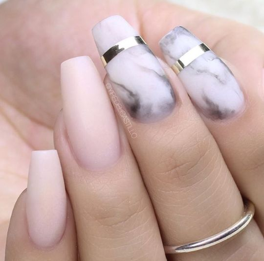 Nail art design on coffin / ballerina shaped nails. Used colours: white, pink and black.