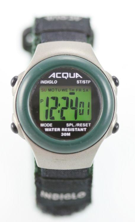 Acqua Silver Women Green Black Hook Loop Day Date Month Alarm Light Quartz Watch