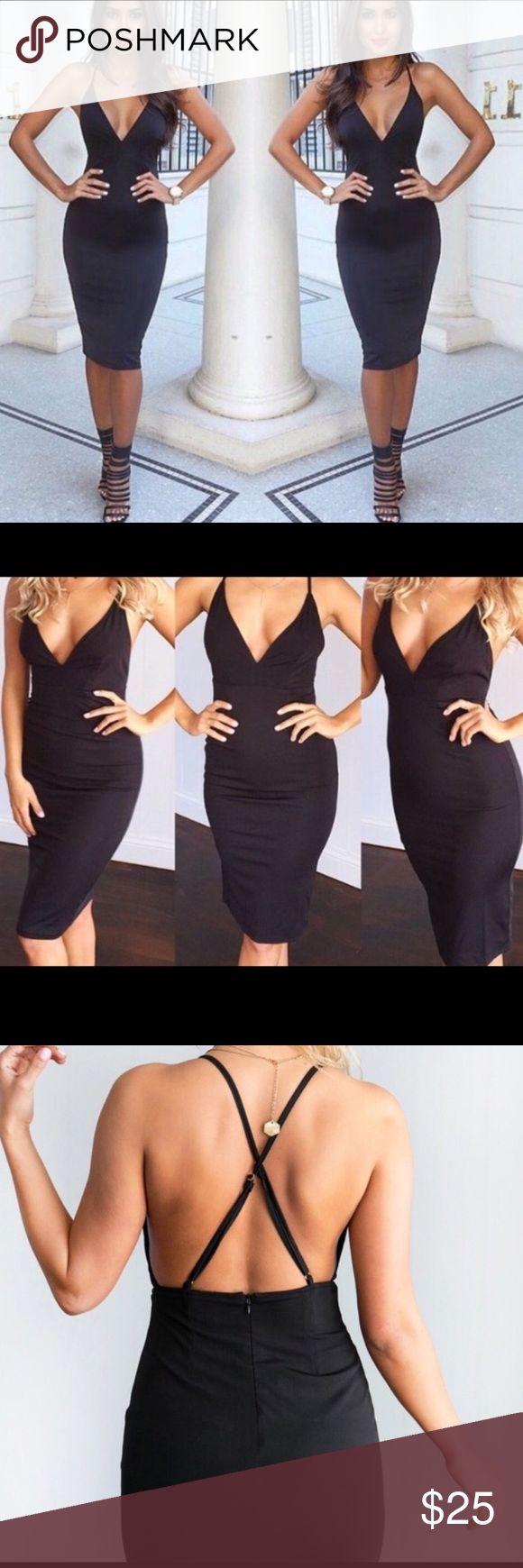Little black dress NWT Little black bodycon dress from Mura Boutique. Size small. Adjustable straps. Mura Boutique Dresses Midi