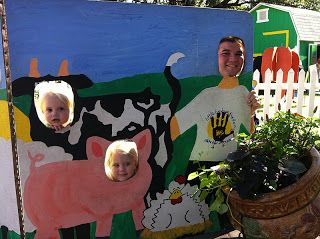 farm animal face cut out board photo op