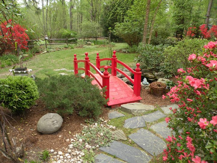 japanese zen garden bridge red