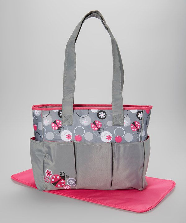 Look at this Gray & Pink Ladybug Triple-Pocket Tote Diaper Bag on #zulily today!