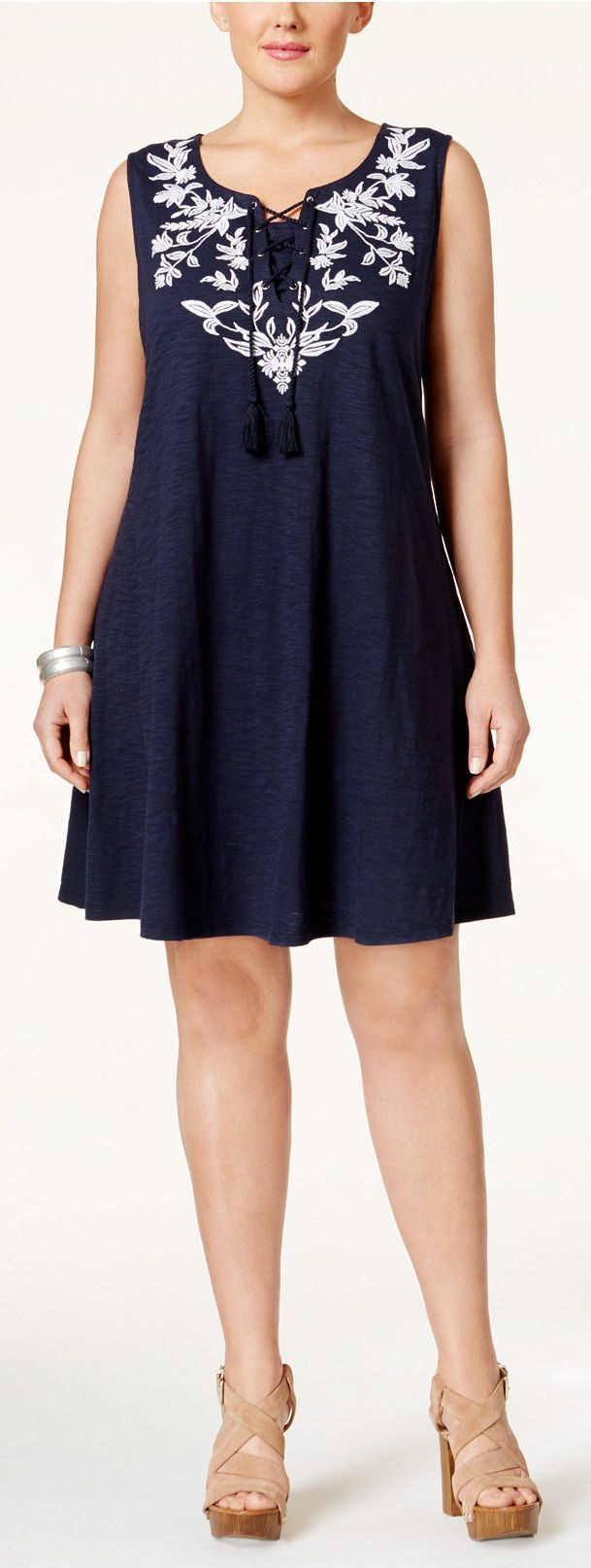 Cute!  Plus Size Embroidered Peasant Dress