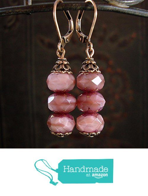 Dusty Rose Pink Artisan Czech Glass Stacked Rondelle Bead Leverback Earrings in Antiqued Copper from Ardent Hearts Designs https://www.amazon.com/dp/B01IJ1E2D2/ref=hnd_sw_r_pi_dp_rWvZyb6GWNJ37 #handmadeatamazon