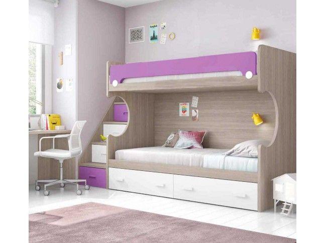 Lit Superpose Enfant Avec Bureaux Composition L204 Glicerio Lits Superposes Avec Rangement Lit Superpose Design Chambre Enfant